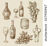 vector hand drawn wine sketch... | Shutterstock .eps vector #317950967