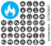 fire icons set. illustration...