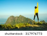 Stock photo man jumping celebrating success with the view of a mountain pico parana brazil 317976773