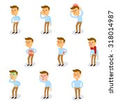 sick characters set with... | Shutterstock . vector #318014987