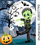 green monster kid walking in... | Shutterstock .eps vector #318037793