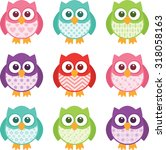 cute little patterned owls with ... | Shutterstock .eps vector #318058163