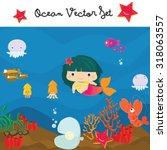 underwater   ocean vector set ... | Shutterstock .eps vector #318063557