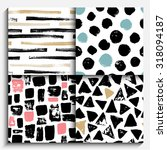set of hand painted seamless... | Shutterstock .eps vector #318094187