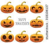 collection of  face on pumpkins ... | Shutterstock .eps vector #318108137