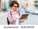 modern girl. pleasant delighted ... | Shutterstock . vector #318139433