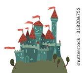 cartoon castle on a hill flat...