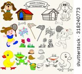 coloring book or page cartoon... | Shutterstock .eps vector #318240773