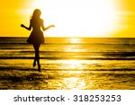 carefree woman dancing in the... | Shutterstock . vector #318253253