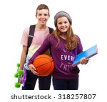 school kids standing smiling on ... | Shutterstock . vector #318257807