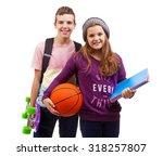 school kids standing smiling on ... | Shutterstock . vector #318257807