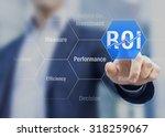 businessman using roi return on ... | Shutterstock . vector #318259067