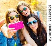 friends in sunglasses taking...   Shutterstock . vector #318264803