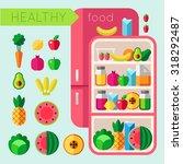 healthy food set | Shutterstock .eps vector #318292487