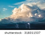 thick white clouds in the blue... | Shutterstock . vector #318311537
