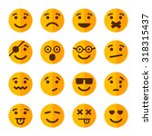 flat style smile emotion icons... | Shutterstock .eps vector #318315437