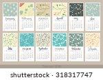 calendar for 2016. week starts...   Shutterstock .eps vector #318317747