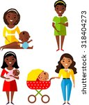set of pregnant  mother with... | Shutterstock .eps vector #318404273