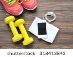 sport shoes smartphone with set ... | Shutterstock . vector #318413843