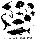 silhouette marine animal and... | Shutterstock .eps vector #318414767