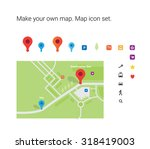 make your own map  map icon set.... | Shutterstock .eps vector #318419003