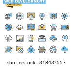 Trendy flat line icon pack for designers and developers. Icons for website and app development, programming, seo, website maintenance, online security, responsive design, cloud computing. | Shutterstock vector #318432557