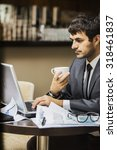 freelance young businessman... | Shutterstock . vector #318461837