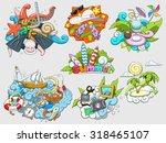 summer set design color  raster ...   Shutterstock . vector #318465107