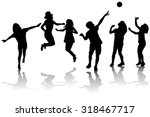 happy children silhouettes... | Shutterstock .eps vector #318467717