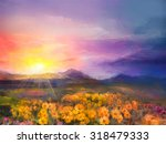Oil Painting Yellow  Golden...