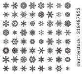 vector set of linear snowflakes.... | Shutterstock .eps vector #318487853