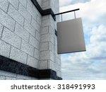 empty metal signboard on a... | Shutterstock . vector #318491993