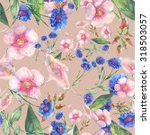 beautiful floral seamless... | Shutterstock . vector #318503057