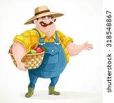 fat farmer in overalls holding... | Shutterstock .eps vector #318548867