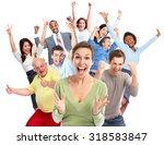 happy joyful people group... | Shutterstock . vector #318583847
