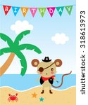 cute rat pirate happy birthday... | Shutterstock .eps vector #318613973
