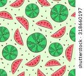 watermelon seamless pattern.... | Shutterstock .eps vector #318660197