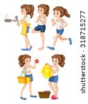 woman doing different... | Shutterstock .eps vector #318715277
