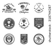 ice hockey black white labels... | Shutterstock .eps vector #318744287