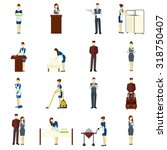 hotel staff flat icons set with ... | Shutterstock .eps vector #318750407