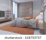 hotem bedroom interior with... | Shutterstock . vector #318753737