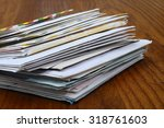big stack of mails  pile of... | Shutterstock . vector #318761603