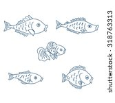 a set of five cute fish.  | Shutterstock . vector #318763313