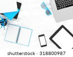 laptop and office stuff ... | Shutterstock . vector #318800987