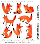 funny and cute foxes.... | Shutterstock .eps vector #318814997