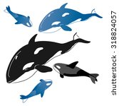 pack of whales and whale babes | Shutterstock .eps vector #318824057
