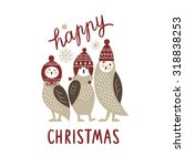christmas card  three cute owls | Shutterstock .eps vector #318838253