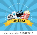 flat illustration of cinema... | Shutterstock . vector #318879413