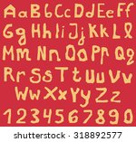 set of orange alphabet letters... | Shutterstock .eps vector #318892577
