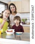 lovely mother and her children...   Shutterstock . vector #318913667